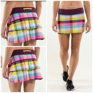 Lululemon Run Pace Setter Skirt Plaid Size 2 multi